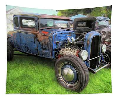 Blue Model A Ford Patina Rod Tapestry