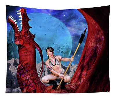 Blue Moon And Red Dragon Tapestry