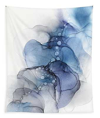 Blue Petal Dots Whispy Abstract Painting Tapestry