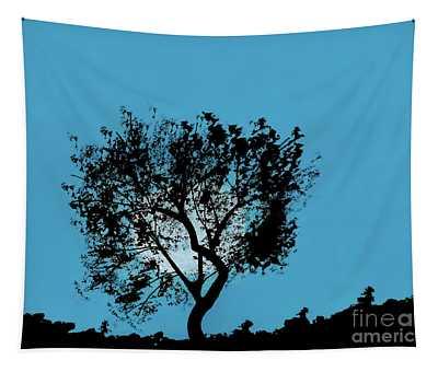Blue Sky Moon Tapestry