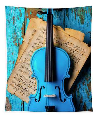 Blue Violin On Blue Wall Tapestry