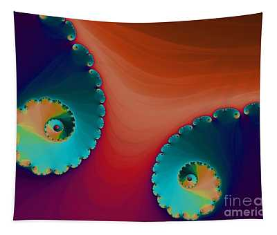 Blue Waves And Orange Sand Fractal Abstract Tapestry
