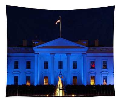 Blue White House Tapestry