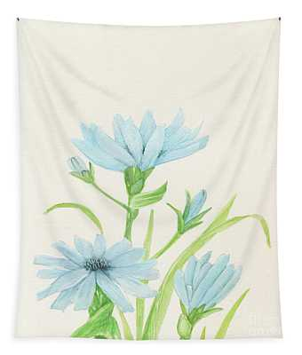 Blue Wildflowers Watercolor Tapestry