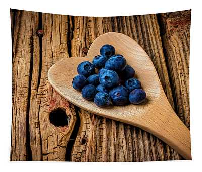 Blueberries In Heart Shaped Spoon Tapestry