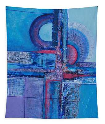 Blues With Purple Abstract Tapestry
