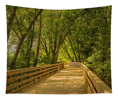 Boardwalk Through The Woods Tapestry