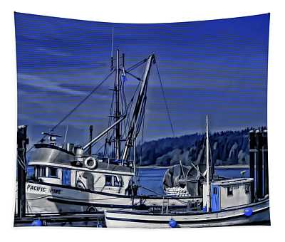 Boats At An Island Dock Tapestry
