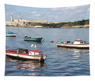 Boats In The Harbor Havana Cuba 112605 Tapestry