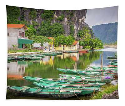 Boats Tam Coc Vietnam Tapestry
