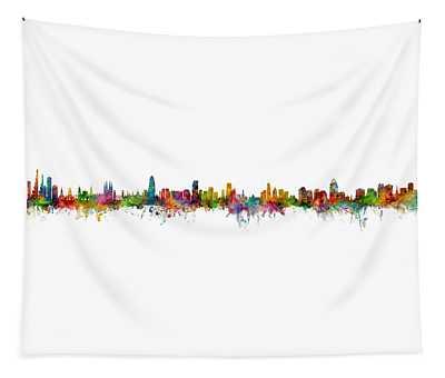 Bogota, Barcelona, Miami, Cincinnati And Orlando Skylines Mashup Tapestry