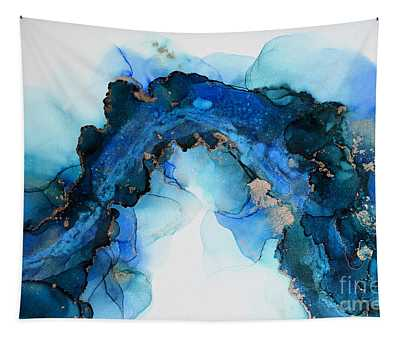 Bold Blue Abstract With Gold Accent Painting Tapestry