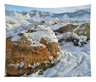 Book Cliffs Boulders And Fresh Snow Tapestry