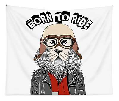 Born To Ride - Baby Room Nursery Art Poster Print Tapestry