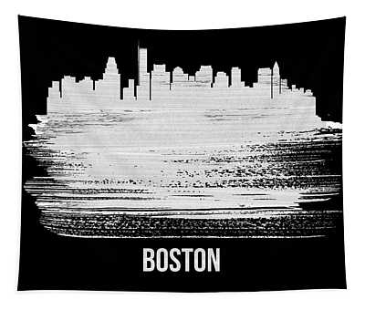 Boston Skyline Brush Stroke White Tapestry