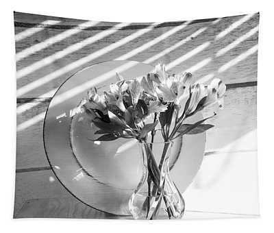 Bouquet And Plate-bw Tapestry