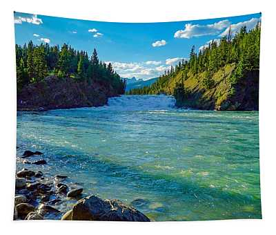 Bow River In Banff Tapestry