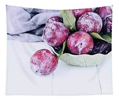 Bowl Of Fresh Plums Tapestry