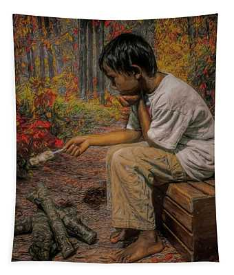 Boy All Alone In The Woods Tapestry
