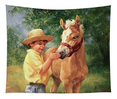 Boy And Foal  Tapestry