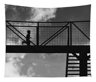 Boy Running On Highway Bridge In Guatemala Bw Tapestry