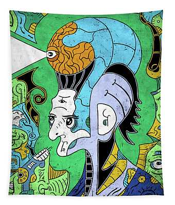 Tapestry featuring the digital art Brain-man by Sotuland Art