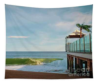 Breaking Waves On Pavilion With Palm Tree Tapestry
