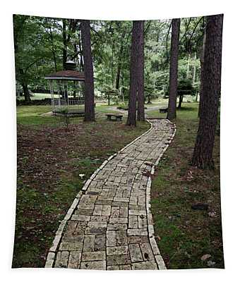 Brick Path Through The Trees Tapestry