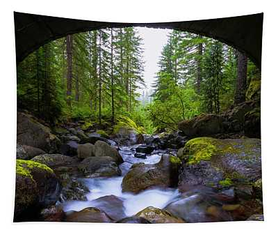 Bridge Below Rainier Tapestry