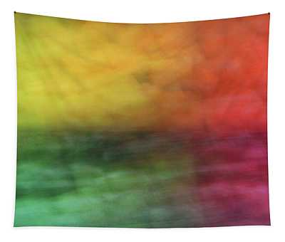Bright Abstract Blurred Color Blocks Of Yellow, Orange, Red And Green Tapestry