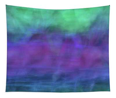 Bright Artistic Abstract Blurred Lines And Shapes Of Purples, Blues And Greens Textures Tapestry
