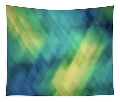 Bright Blue, Turquoise, Green And Yellow Blurred Diagonal And Diamond Shapes Tapestry