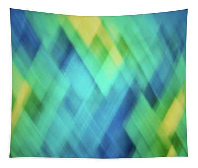 Bright Blue, Turquoise, Green And Yellow Blurred Diamond Pattern Abstract Tapestry
