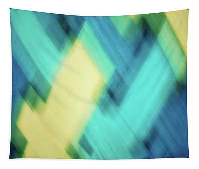 Bright Blue, Turquoise, Green And Yellow Blurred Diamond Shapes Abstract  Tapestry