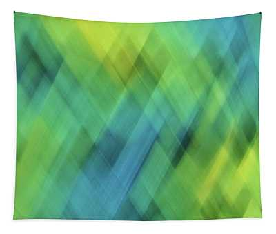 Bright Blue, Turquoise, Green And Yellow Blurred Diamond Shapes And Lines Abstract  Tapestry