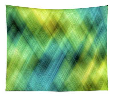 Bright Blue, Turquoise, Green And Yellow Blurred Diamond Shapes Tapestry