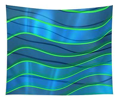 Bright Blue Waves With Green Lines Tapestry