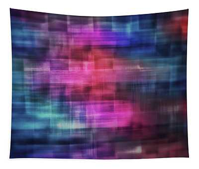 Bright Blurred Square Shapes Of Blue, Turquoise,  Pink, Purple And Orange Abstract Tapestry