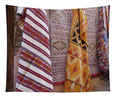Bright Colored Patterns On Throw Rugs In The Medina Bazaar  Tapestry