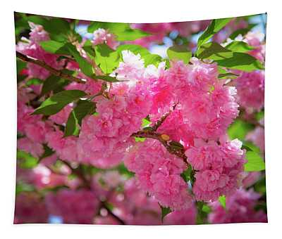 Bright Pink Blossoms Tapestry