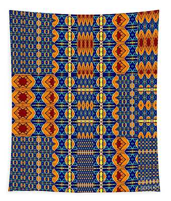 Brilliant In Orange And Blue Tapestry