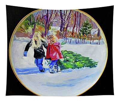 Bringing Home The Christmas Tree Tapestry