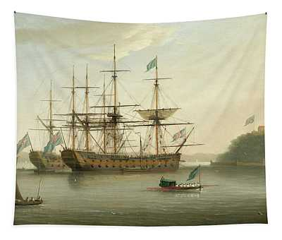 British Naval Ships Moored Off Mount Edgcumbe, Plymouth Tapestry