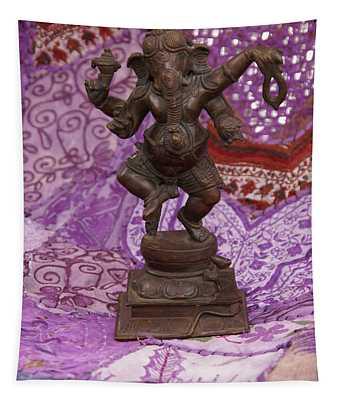 Bronze Ganesha Dancing, On Purple Tapestry