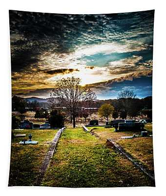 Brooding Sky Over Cemetery Tapestry