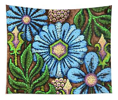 Brown And Blue Floral 1 Tapestry