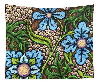 Brown And Blue Floral 2 Tapestry