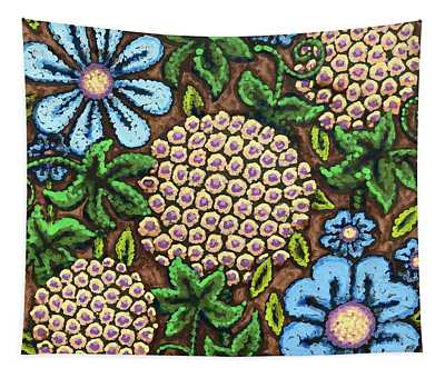 Brown And Blue Floral 3 Tapestry