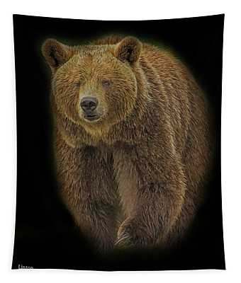 Brown Bear In Darkness Tapestry