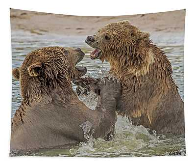 Brown Bears Fighting Tapestry